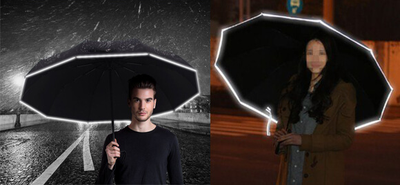 2_【WGWJM】折りたたみ傘 10本骨 反射テープ付き(晴雨兼用)